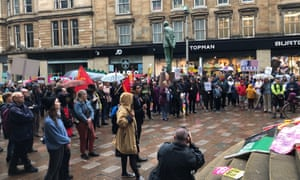Protesters in Glasgow during Trump's state visit.