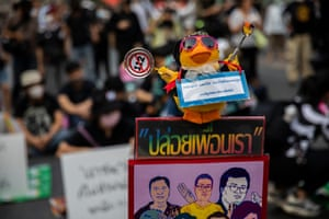 A rubber duck, a symbol of the Thai protest movement, is seen at a rally on 24 March, where the student protest leaders held a pro-democracy rally. Pro-democracy supporters protested against the use of section 112, Thailand's lese-majesty law, to imprison protest leaders, and continue to call for governmental reform and the removal of Prime Minister Prayut Chan-o-cha.