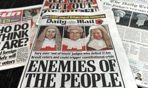 Front pages of British newspapers after the high court ruling on Friday on parliamentary involvement in the Brexit process.