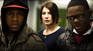 John Boyega with Jodie Whittaker and Leeon Jones in Attack The Block, 2011.