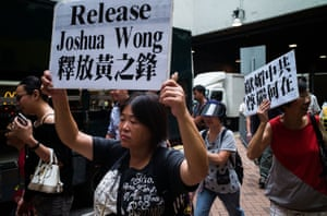 Demonstrators protest at Wong's detention as he tried to enter Thailand last year.