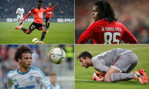 Clockwise from top left: Ousmane Dembele of Rennes, Benfica's Renato Sanches, Gianluigi Donnarumma of Milan and Schalke's Leroy Sane.
