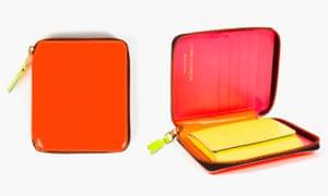 orange zip round wallet
