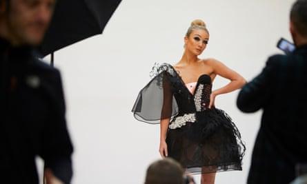 Model wears world's first graphene dress at Manchester launch.