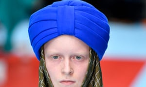 A Gucci model wearing the £790 headpiece