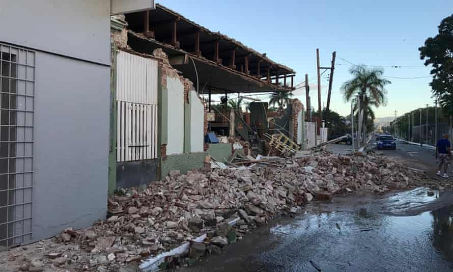 A shop is seen damaged after an earthquake in Guanica, Puerto Rico on Tuesday.
