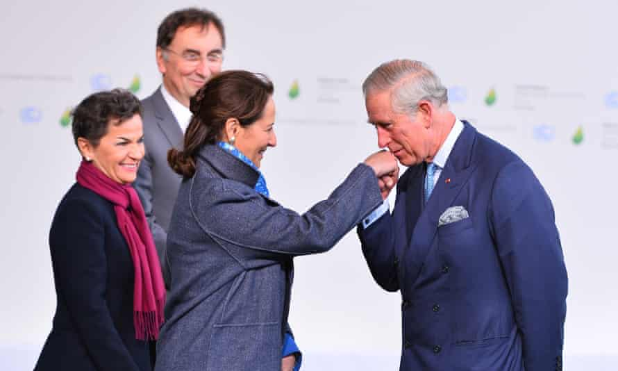 Prince Charles greeted by Segolene Royal, French minister of ecology, sustainable development and energy at the Paris climate summit.