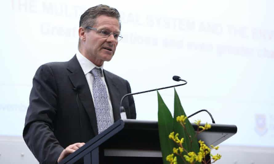 Peter Woolcott delivers a speech at the University of Queensland