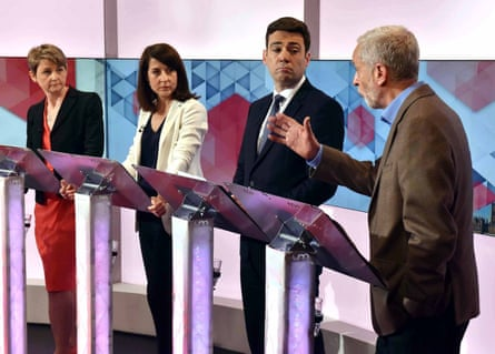 Labour leadership contenders Yvette Cooper, Liz Kendall, Andy Burnham and Jeremy Corbyn during a Labour leadership hustings debate on BBC1's Sunday Politics on 19 July