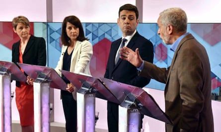 A BBC debate between the Labour leadership contenders (from left): Yvette Cooper, Liz Kendall, Andy Burnham and Jeremy Corbyn. Corbyn said the welfare bill would make even bigger holes in the welfare state, leading to more people falling into poverty.