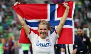 Olympique Lyonnais' Ada Hegerberg celebrates winning the Women's Champions League.