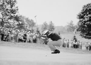15 June 1973. Palmer waves his putter and smiles after putting, and missing, a birdie on sixth green in the second round of the US Open in Oakmont, Pennsylvania.