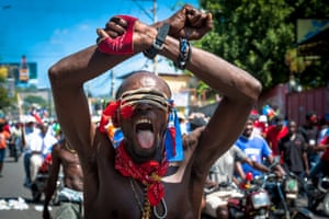 Port-au-Prince, HaitiHaitians demonstrate during a protest to denounce the draft constitutional referendum carried by the President Jovenel Moise