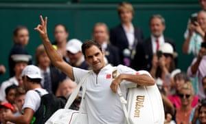 Roger Federer celebrates winning against Lucas Pouille.