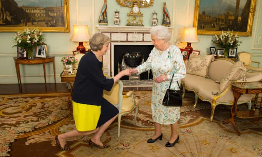 The Queen welcoming Theresa May