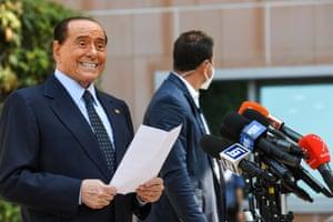 Milan, ItalyFormer Italian prime minister Silvio Berlusconi addresses the media, as he leaves the San Raffaele Hospital after he tested positive for coronavirus and was hospitalised since September 3