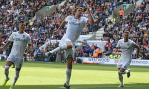 Leeds United's Patrick Bamford celebrates scoring his and his side's second goal against Wigan.
