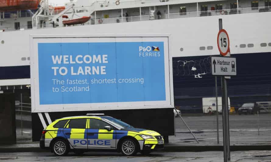 Police patrol the port of Larne, Northern Ireland