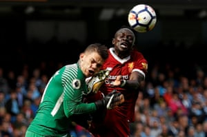 Sadi Mané's kick to Ederson's head resulted in a red card that sparked Manchester City's 5-0 rout of Liverpool in September.