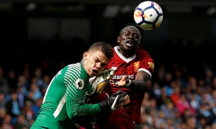 Liverpool's Sadio Mané was sent off for this foul on Ederson in September, leading to a 5-0 Manchester City win.
