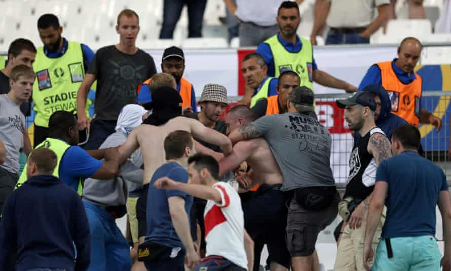 Trouble breaks out at the Stade Velodrome after the England-Russia match.