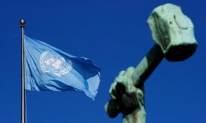 The UN flag waves near a bronze by the Soviet sculptor Yevgeny Vuchetich outside UN headquarters in New York