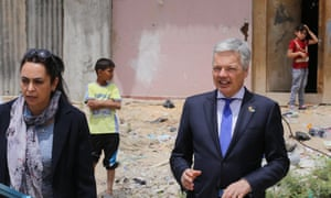 Belgian foreign minister Didier Reynders during his visit to Gaza City.