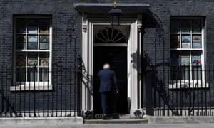Boris Johnson walking into 10 Downing Street.