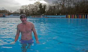 John Wigglesworth, 72, enjoys his Sunday lunchtime swim at Tooting Bec Lido, December 2015.