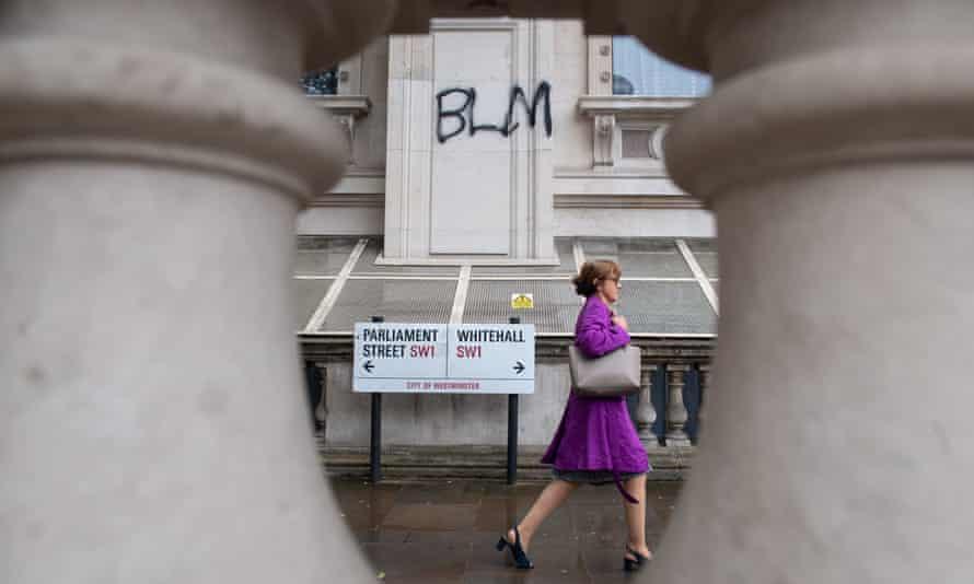 Black Lives Matter graffiti on Whitehall.