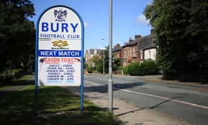 A sign near Gigg Lane with no details of Bury's next match. A local MP has urged the club's Premier League neighbours to help.