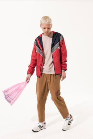 red, grey, dark blue sports jacket Next, dusty pink jumper Next, brown trousers Cos, pink socks, Falke, blue, navy red trainers Adidas