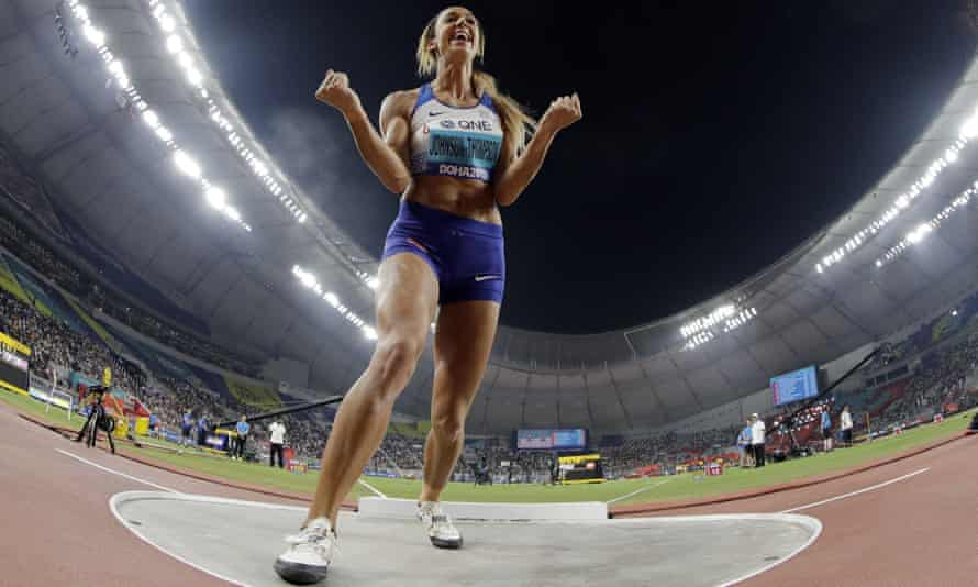 Katarina Johnson-Thompson celebrates after setting a new PB in the shot