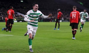 Lewis Morgan of Celtic celebrates after he scores his sides first goal.