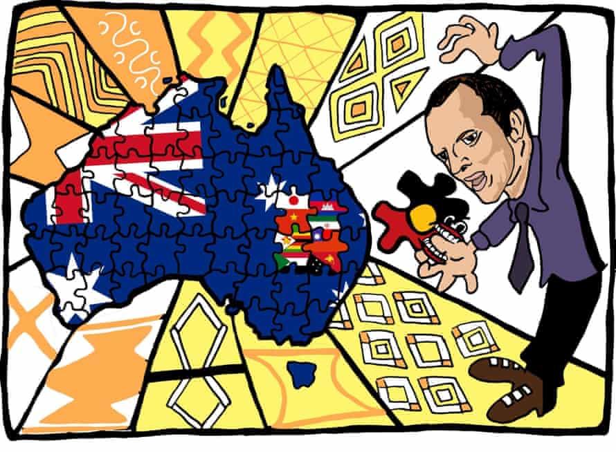 Illustration of Australian map and Aboriginal flags.