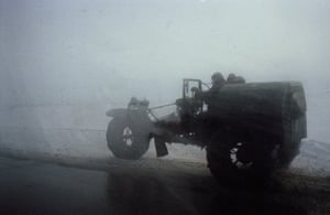 Negotiating the heavy snow with a home-made snow plough.