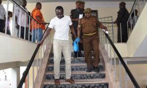 Tanzanian investigative journalist Erick Kabendera leaves Kisutu resident magistrate's court in Dar es Salaam, Tanzania