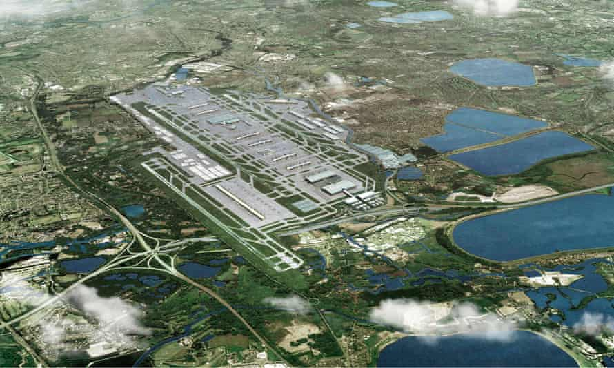 An artist's impression showing how Heathrow Airport could look with a third runway.