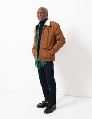 model wears jacket, £59, topman.com. Roll neck, £22, riverisland.com. Jeans, £166.83, frame-store.com. Loafers, £129, drmartens.com. Scarf, £320, beggandcompany.com.