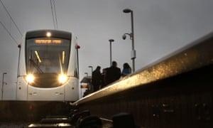 People queue for tram in Edinburgh