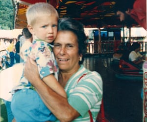 Le Bas with his nan – great-grandmother Julie Jones – at the fair in Worthing, 1987.