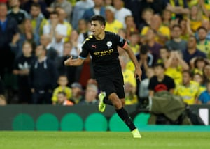 Manchester City's Rodri celebrates scoring getting the visitors back into the game.