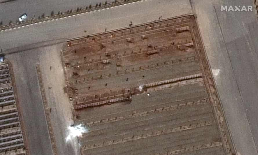 Satellite images show Behesht Masoumeh cemetery, including what is believed to be newly-dug grave trenches in the Iranian city of Qom.