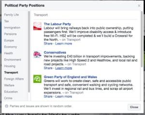 Facebook's party comparison widget
