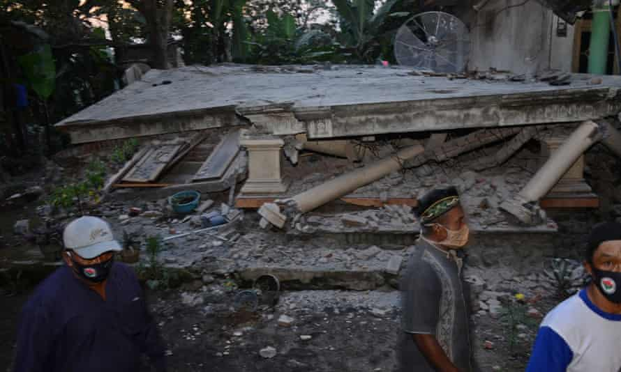A collapsed house at Sidorenggo village in East Java, after a 6.0 magnitude earthquake struck off the coast.