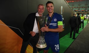 Chelsea owner Roman Abramovich and Cesar Azpilicueta celebrate with the Europa League trophy.