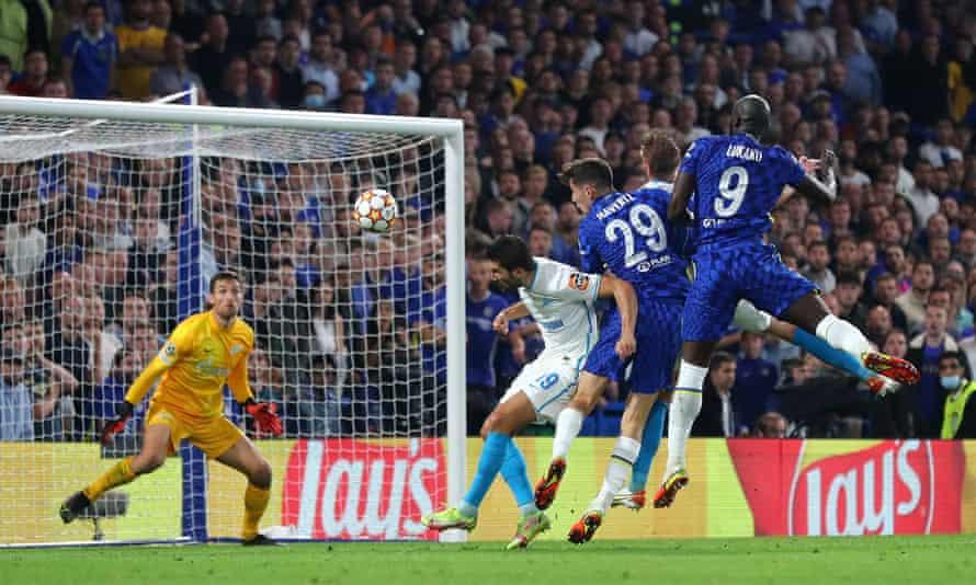 Romelu Lukaku climbs highest to head home the only goal of the match.