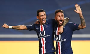 Ángel Di María celebrates with Neymar after scoring just before half-time, on a night when PSG's attacking stars delivered.