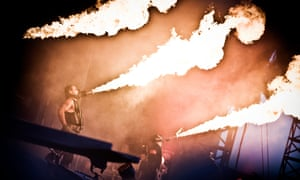 The German industrial metal band Rammstein performs a live concert at Copenhagen Live 2010 at Tioren, Denmark.
