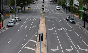 An elevated view of an empty Bourke Street in Melbourne